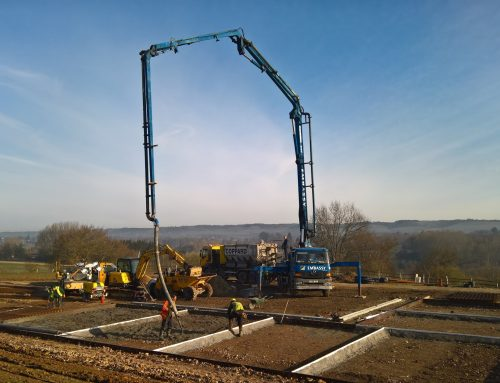 Pump and pour large reinforced slab for timber building whole job was poured in one day